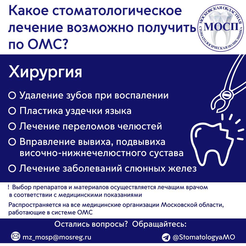 """Памятка """"Какое стоматологическое лечение возможно получить по ОМС: Хирургия"""""""
